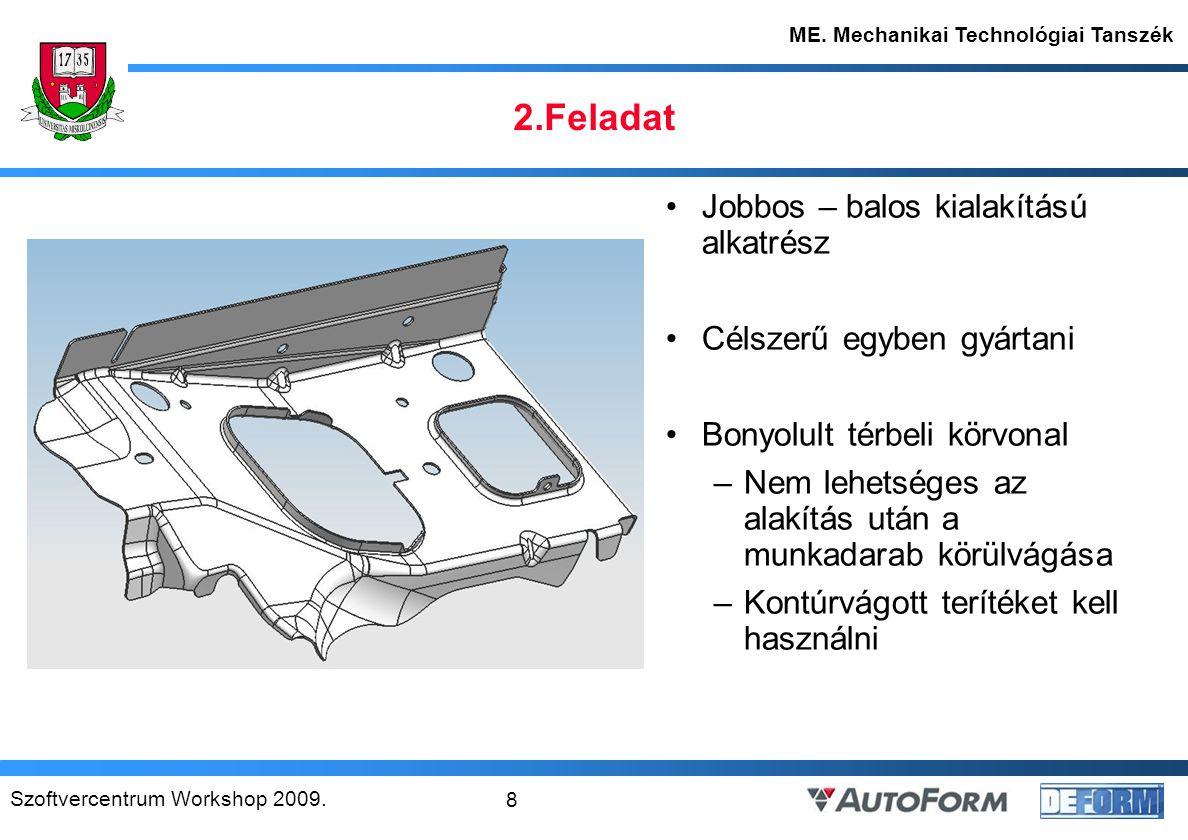 Szoftvercentrum Workshop 2009.9 ME. Mechanikai Technológiai Tanszék 2.1.