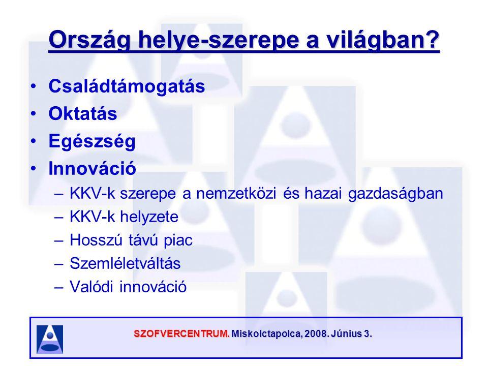 SZOFVERCENTRUM. Miskolctapolca, 2008. Június 3. Ország helye-szerepe a világban? Családtámogatás Oktatás Egészség Innováció –KKV-k szerepe a nemzetköz