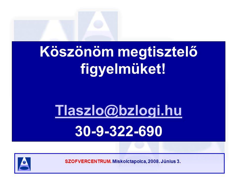 SZOFVERCENTRUM. Miskolctapolca, 2008. Június 3. Köszönöm megtisztelő figyelmüket! Tlaszlo@bzlogi.hu 30-9-322-690
