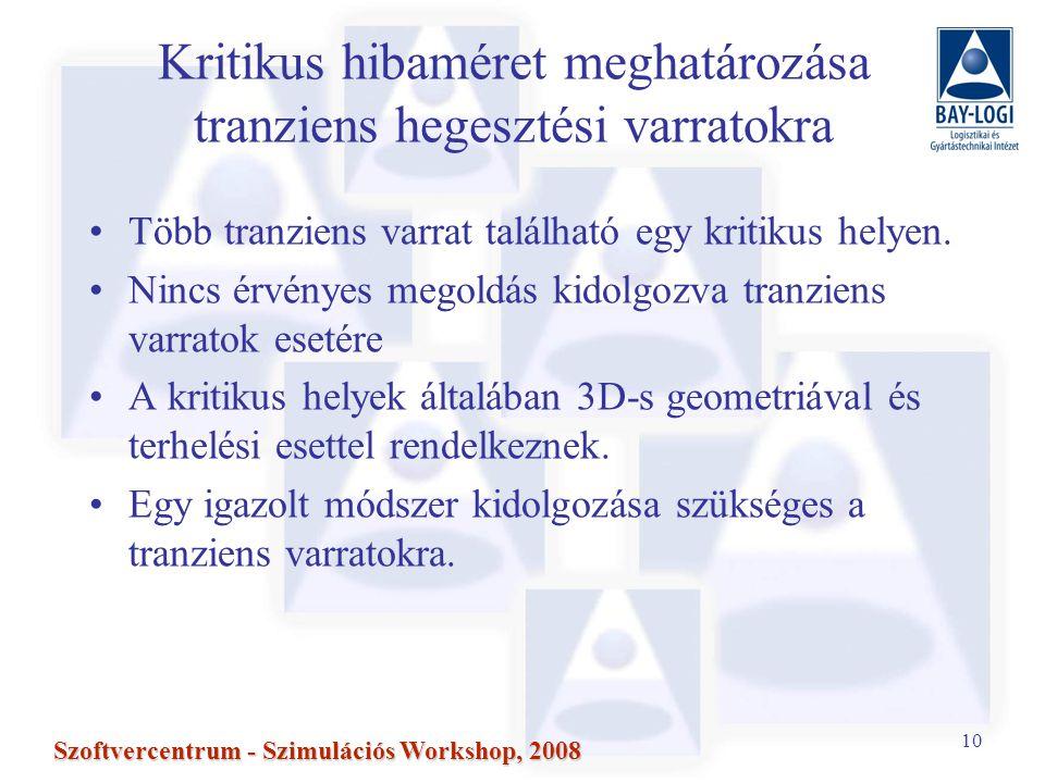 10 Szoftvercentrum - Szimulációs Workshop, 2008 Kritikus hibaméret meghatározása tranziens hegesztési varratokra Több tranziens varrat található egy kritikus helyen.