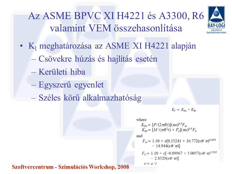 14 Szoftvercentrum - Szimulációs Workshop, 2008 Az ASME BPVC XI H4221 és A3300, R6 valamint VEM összehasonlítása K I meghatározása az ASME XI H4221 alapján –Csövekre húzás és hajlítás esetén –Kerületi hiba –Egyszerű egyenlet –Széles körű alkalmazhatóság