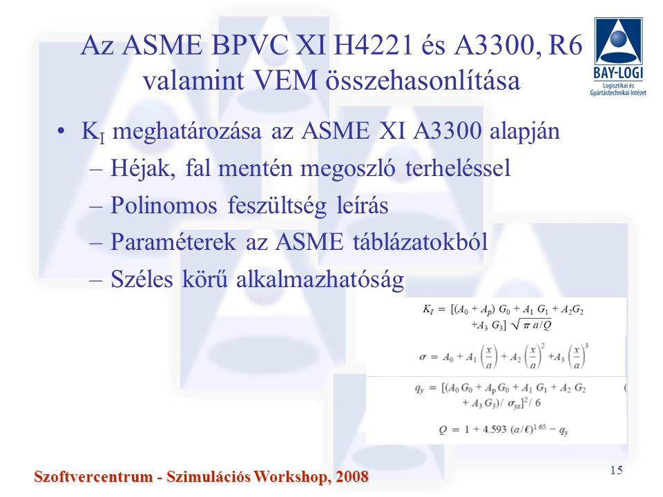 15 Szoftvercentrum - Szimulációs Workshop, 2008 Az ASME BPVC XI H4221 és A3300, R6 valamint VEM összehasonlítása K I meghatározása az ASME XI A3300 alapján –Héjak, fal mentén megoszló terheléssel –Polinomos feszültség leírás –Paraméterek az ASME táblázatokból –Széles körű alkalmazhatóság