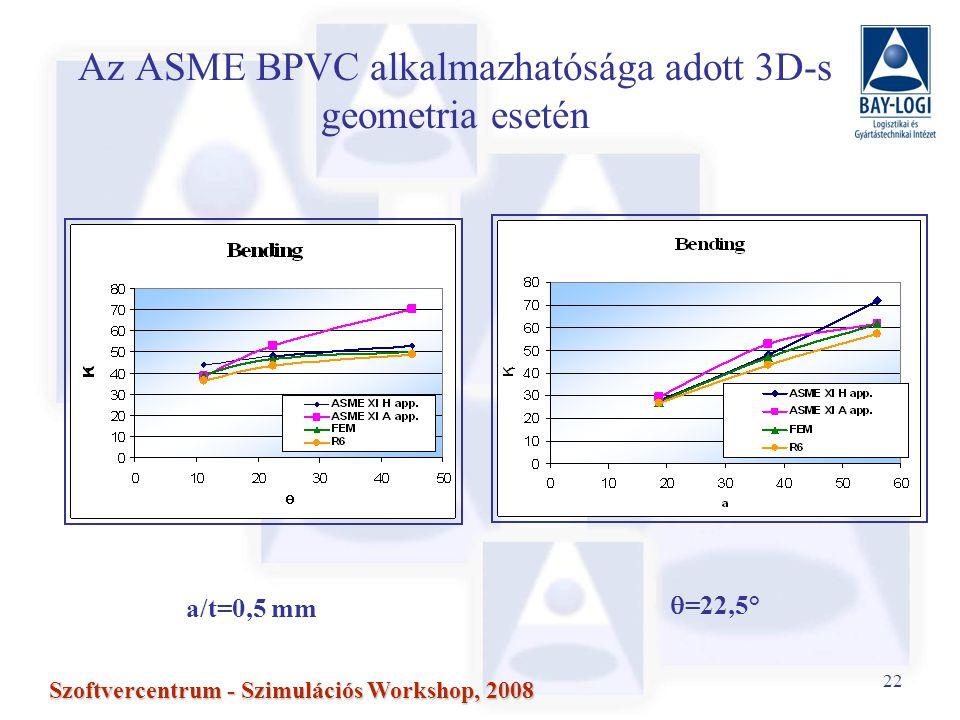 22 Szoftvercentrum - Szimulációs Workshop, 2008 a/t=0,5 mm  =22,5° Az ASME BPVC alkalmazhatósága adott 3D-s geometria esetén