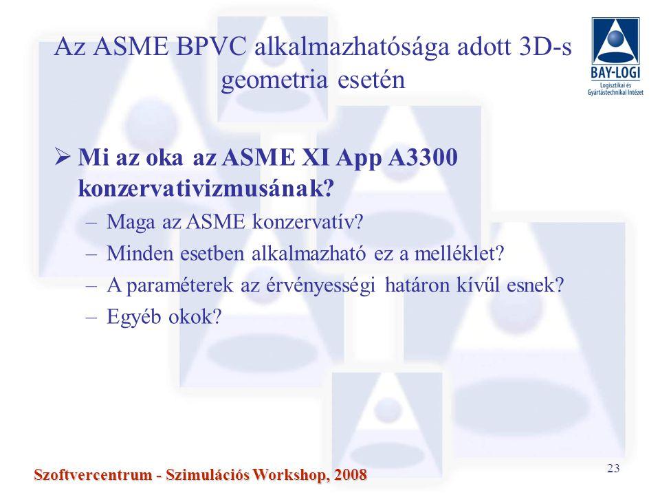 23 Szoftvercentrum - Szimulációs Workshop, 2008 Az ASME BPVC alkalmazhatósága adott 3D-s geometria esetén  Mi az oka az ASME XI App A3300 konzervativizmusának.