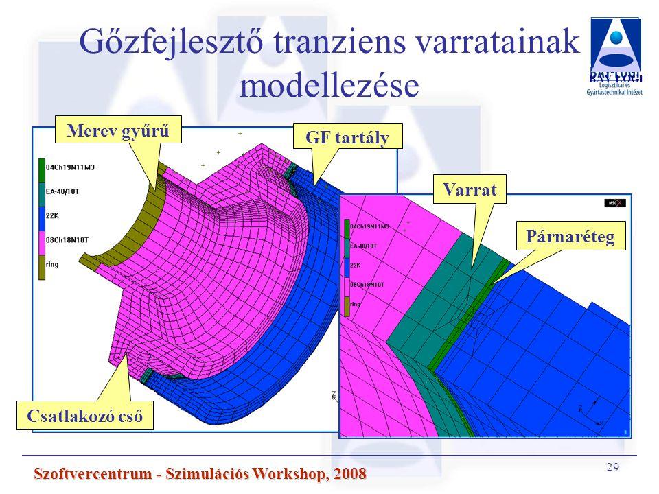 29 Szoftvercentrum - Szimulációs Workshop, 2008 Gőzfejlesztő tranziens varratainak modellezése BAY-LOGI Csatlakozó cső Merev gyűrű GF tartály Varrat Párnaréteg