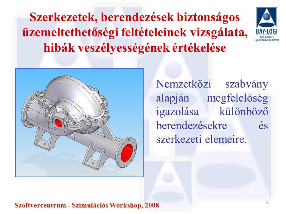 3 Szoftvercentrum - Szimulációs Workshop, 2008 Szerkezetek, berendezések biztonságos üzemeltethetőségi feltételeinek vizsgálata, hibák veszélyességének értékelése Nemzetközi szabvány alapján megfelelőség igazolása különböző berendezésekre és szerkezeti elemeire.