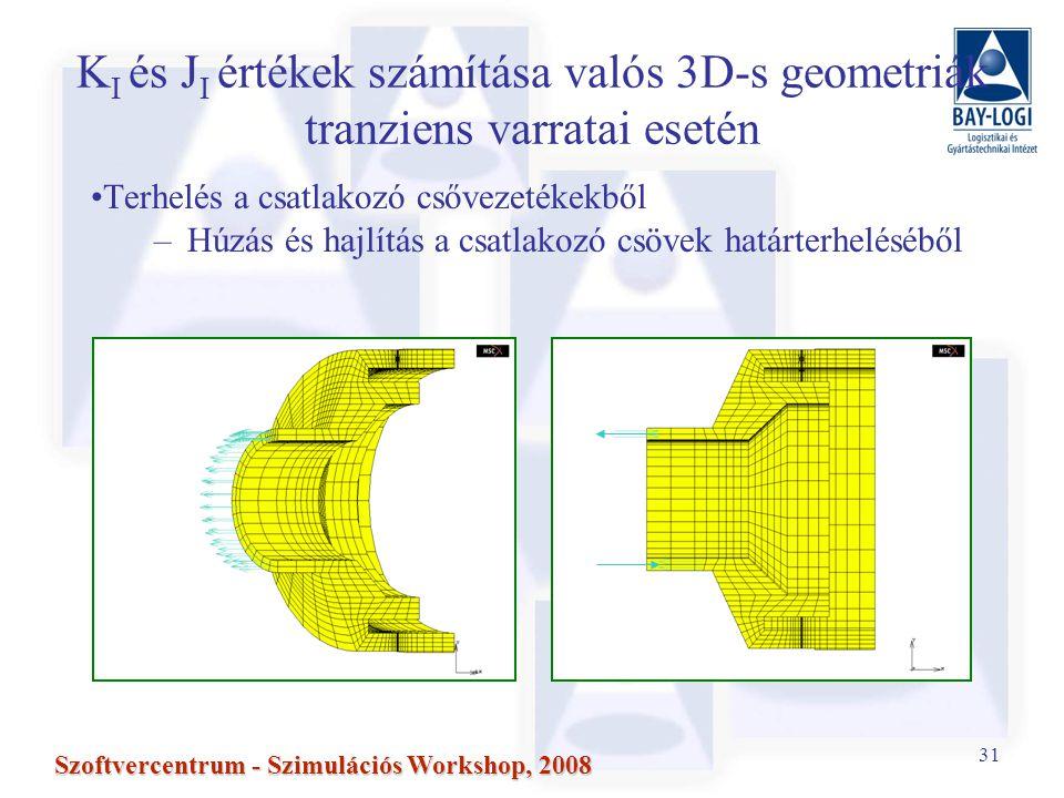 31 Szoftvercentrum - Szimulációs Workshop, 2008 K I és J I értékek számítása valós 3D-s geometriák tranziens varratai esetén Terhelés a csatlakozó csővezetékekből –Húzás és hajlítás a csatlakozó csövek határterheléséből