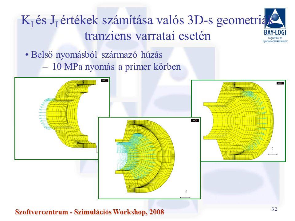 32 Szoftvercentrum - Szimulációs Workshop, 2008 K I és J I értékek számítása valós 3D-s geometriák tranziens varratai esetén Belső nyomásból származó húzás –10 MPa nyomás a primer körben