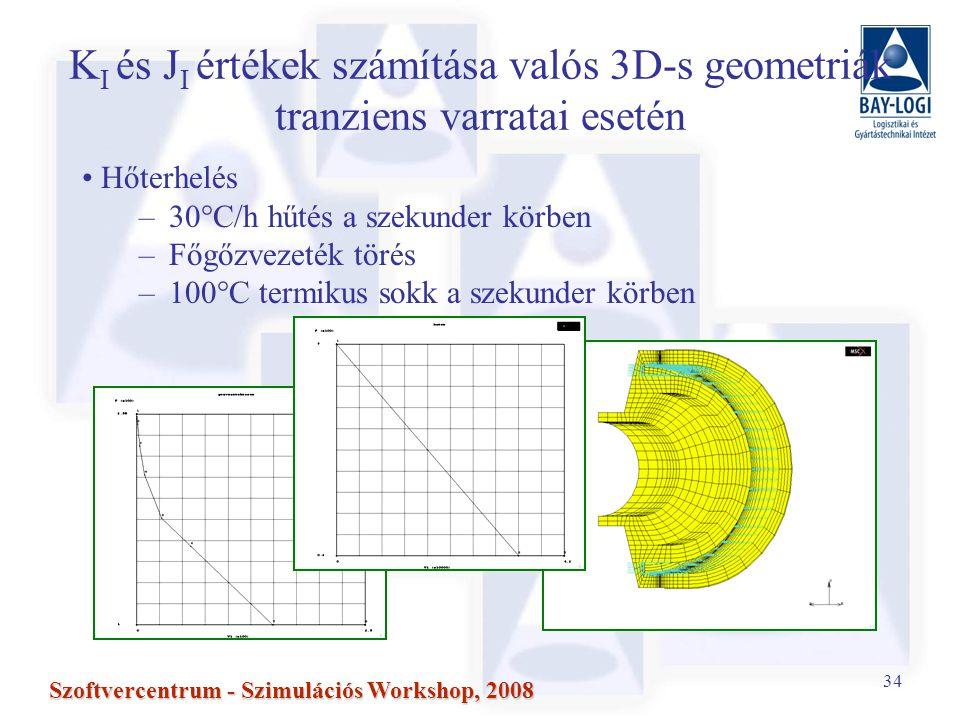 34 Szoftvercentrum - Szimulációs Workshop, 2008 K I és J I értékek számítása valós 3D-s geometriák tranziens varratai esetén Hőterhelés –30°C/h hűtés a szekunder körben –Főgőzvezeték törés –100°C termikus sokk a szekunder körben