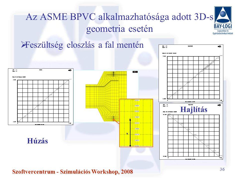36 Szoftvercentrum - Szimulációs Workshop, 2008 Az ASME BPVC alkalmazhatósága adott 3D-s geometria esetén  Feszültség eloszlás a fal mentén Húzás Hajlítás