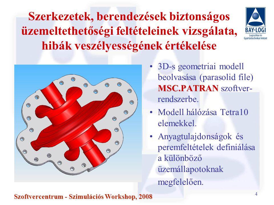 35 Szoftvercentrum - Szimulációs Workshop, 2008 K I és J I értékek számítása valós 3D-s geometriák tranziens varratai esetén Hőterhelés –20 °C/h fűtés a primer körben, –100°C termikus sokk a primer körben