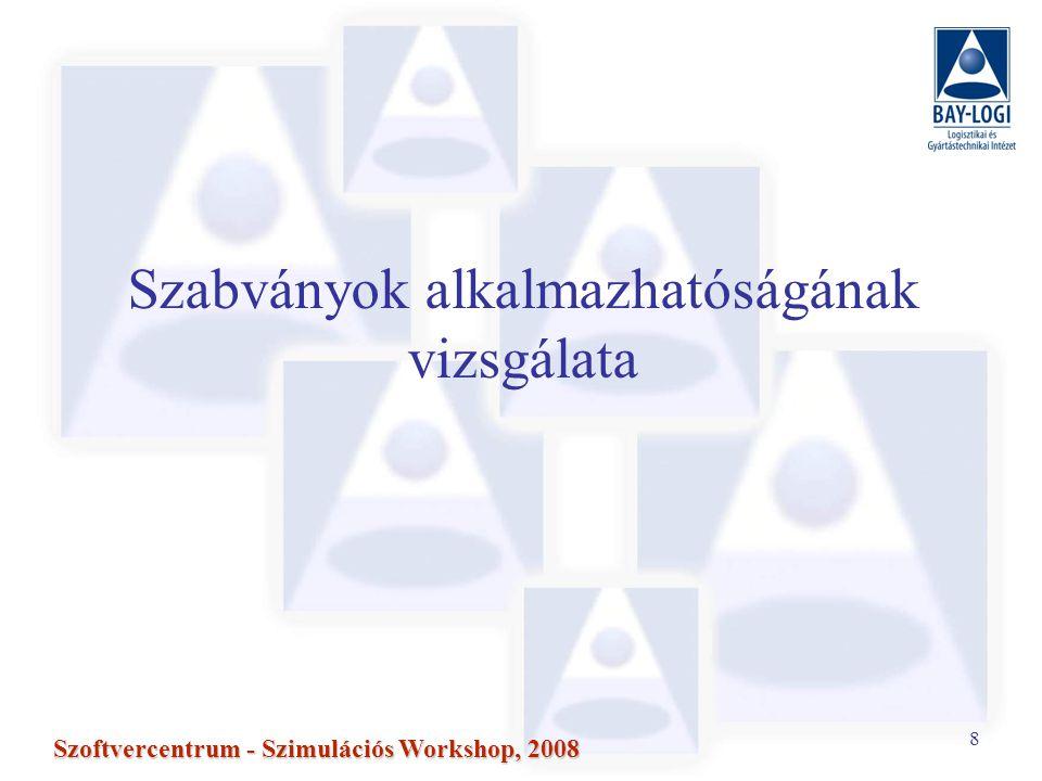 8 Szoftvercentrum - Szimulációs Workshop, 2008 Szabványok alkalmazhatóságának vizsgálata