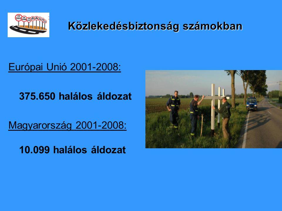 Közlekedésbiztonság számokban Európai Unió 2001-2008: 375.650 halálos áldozat Magyarország 2001-2008: 10.099 halálos áldozat