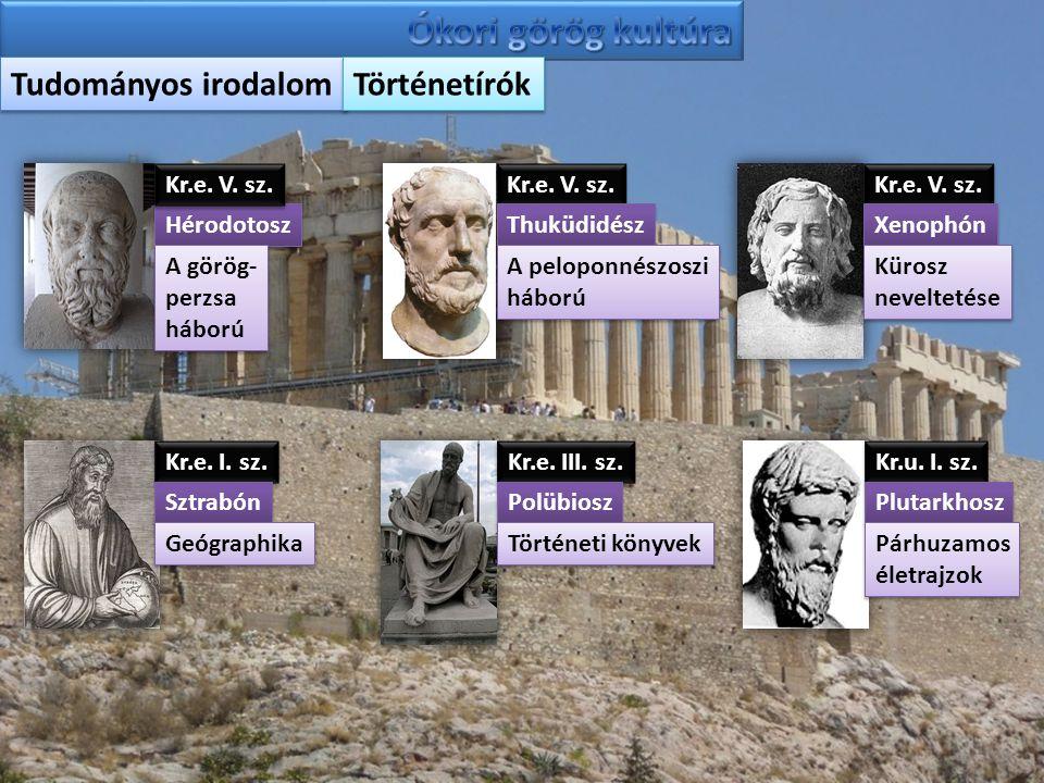 Tudományos irodalom Történetírók Hérodotosz A görög- perzsa háború A görög- perzsa háború Kr.e. V. sz. Thuküdidész A peloponnészoszi háború A peloponn