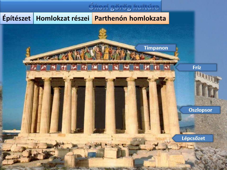 Építészet Homlokzat részei Parthenón homlokzata Timpanon Fríz Oszlopsor Lépcsőzet