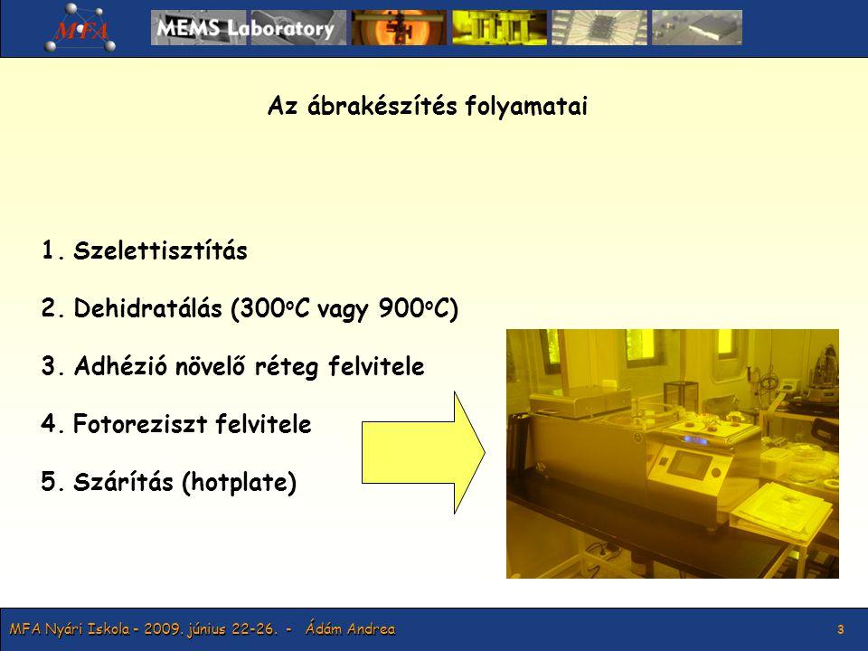 3 Az ábrakészítés folyamatai 1.Szelettisztítás 2.Dehidratálás (300 o C vagy 900 o C) 3.Adhézió növelő réteg felvitele 4.Fotoreziszt felvitele 5.Szárítás (hotplate)