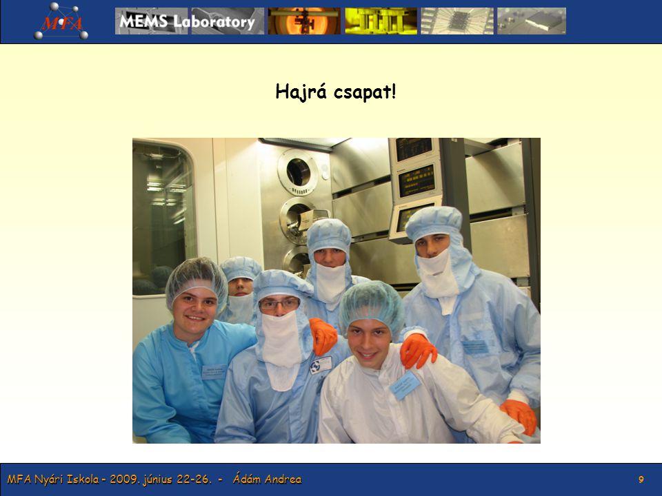 MFA Nyári Iskola - 2009.június 22-26. - Ádám Andrea 10 Köszönöm a figyelmet.