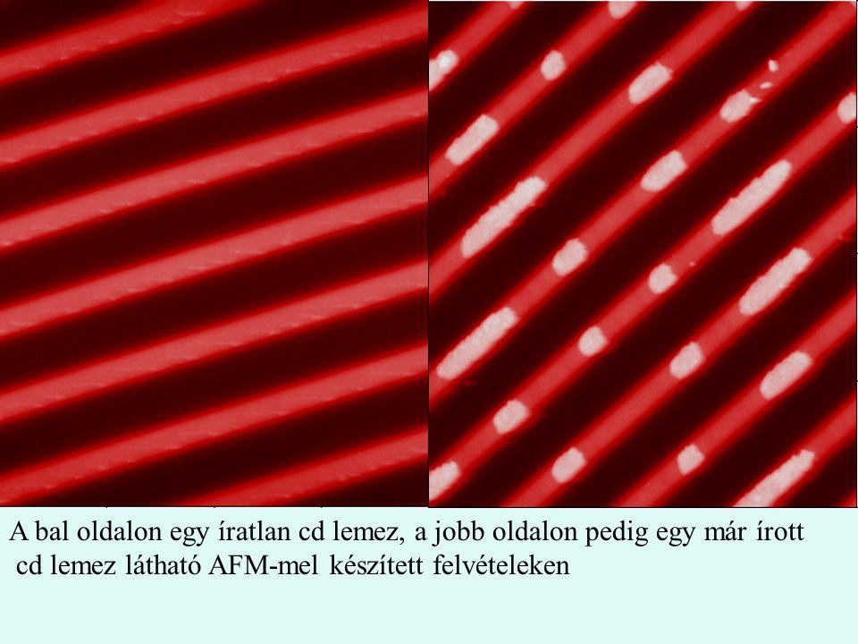 A bal oldalon egy íratlan cd lemez, a jobb oldalon pedig egy már írott cd lemez látható AFM-mel készített felvételeken