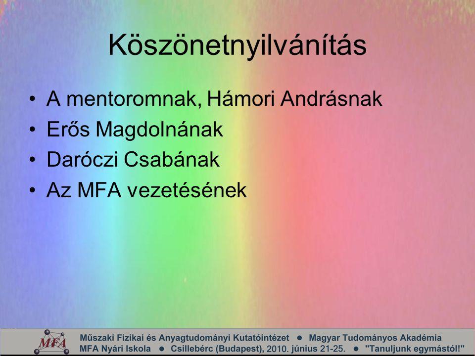 Köszönetnyilvánítás A mentoromnak, Hámori Andrásnak Erős Magdolnának Daróczi Csabának Az MFA vezetésének