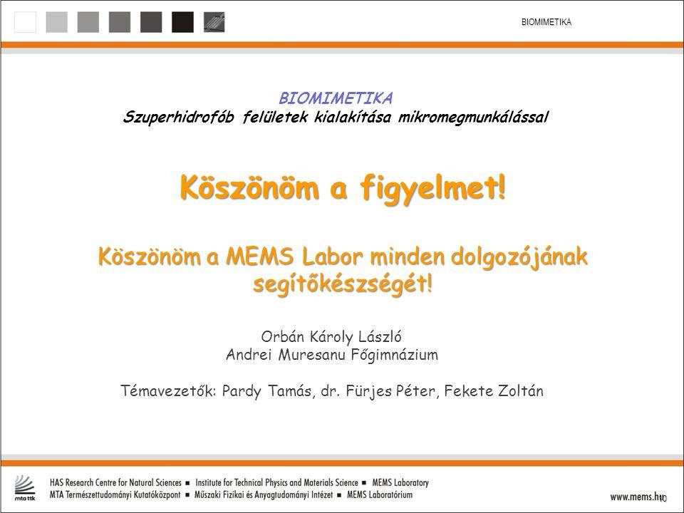 10 BIOMIMETIKA Köszönöm a figyelmet! Köszönöm a MEMS Labor minden dolgozójának segítőkészségét! Orbán Károly László Andrei Muresanu Főgimnázium Témave