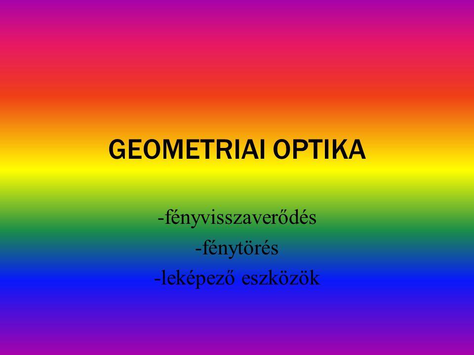 GEOMETRIAI OPTIKA -fényvisszaverődés -fénytörés -leképező eszközök