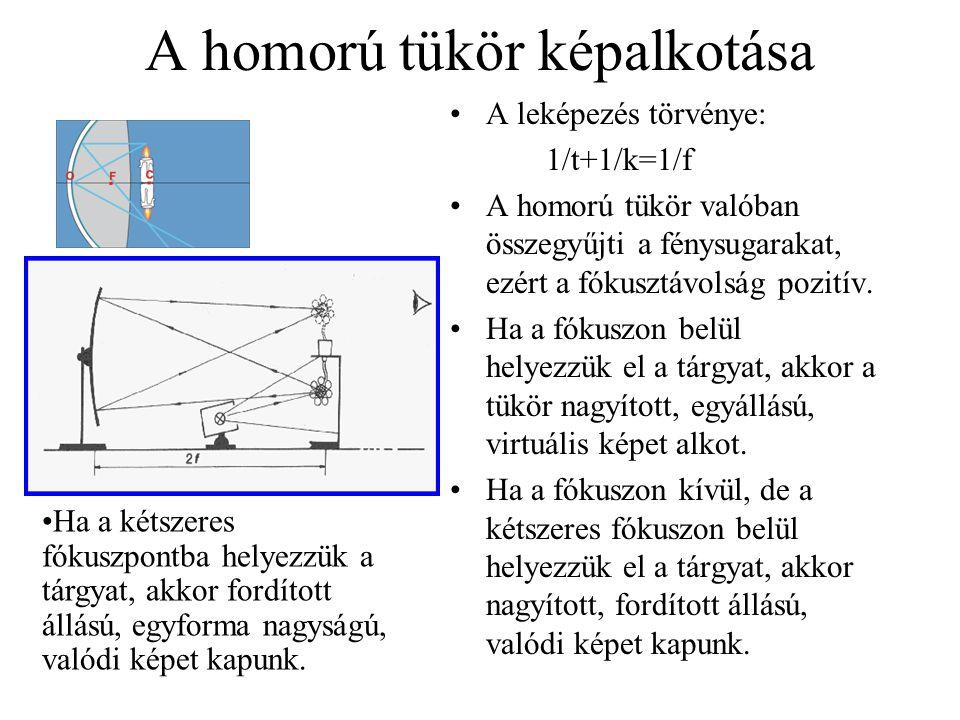 A homorú tükör képalkotása A leképezés törvénye: 1/t+1/k=1/f A homorú tükör valóban összegyűjti a fénysugarakat, ezért a fókusztávolság pozitív. Ha a