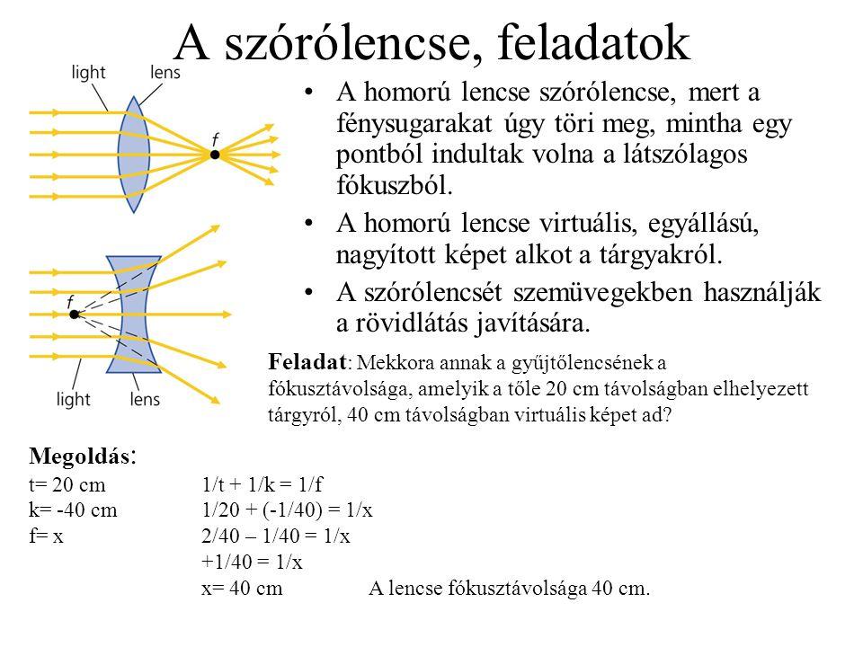 A szórólencse, feladatok A homorú lencse szórólencse, mert a fénysugarakat úgy töri meg, mintha egy pontból indultak volna a látszólagos fókuszból. A