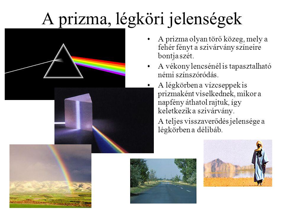 A prizma, légköri jelenségek A prizma olyan törő közeg, mely a fehér fényt a szivárvány színeire bontja szét. A vékony lencsénél is tapasztalható némi