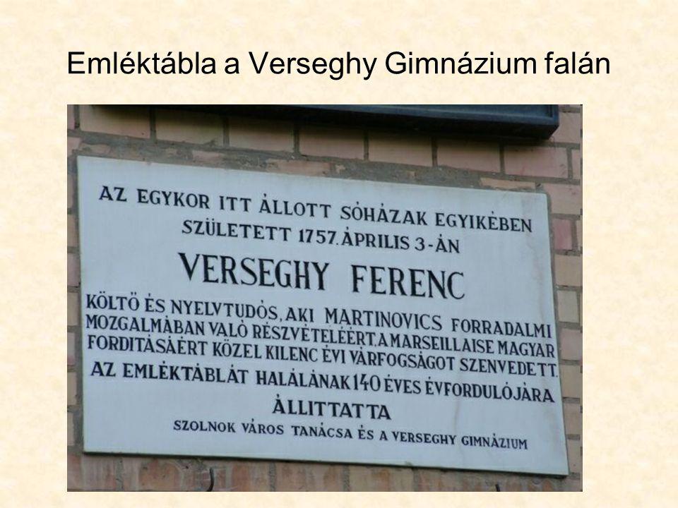 Emléktábla a Verseghy Gimnázium falán