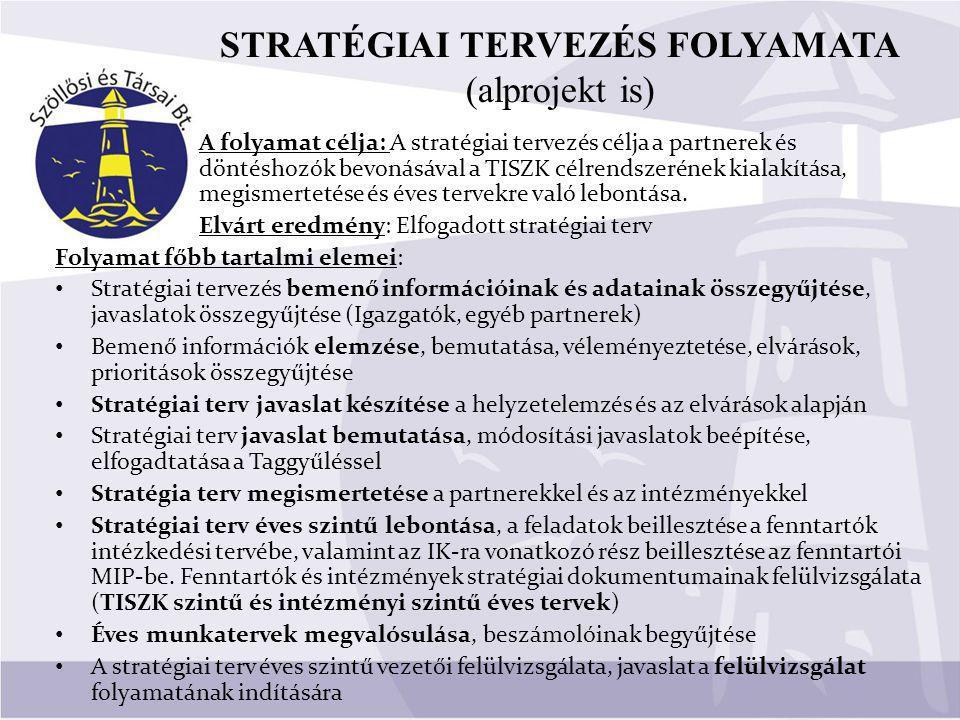 A folyamat célja: A stratégiai tervezés célja a partnerek és döntéshozók bevonásával a TISZK célrendszerének kialakítása, megismertetése és éves tervekre való lebontása.