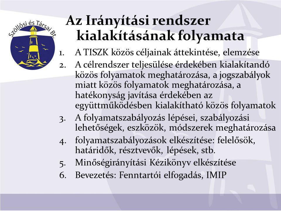 A TISZK közös folyamatainak listája elkészült (bemutatásra került az Igazgatóknak 2010.