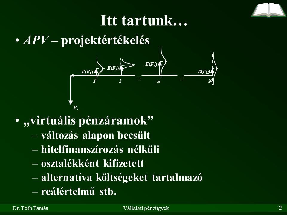 Dr.Tóth TamásVállalati pénzügyek63 Egyszerű példák: 1.