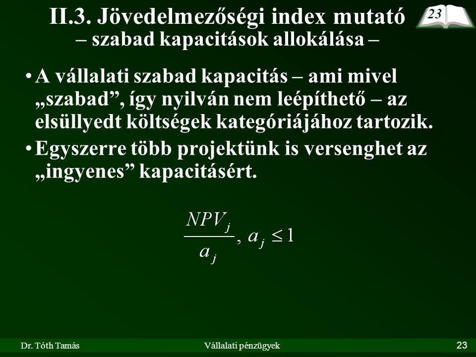 """Dr. Tóth TamásVállalati pénzügyek23 II.3. Jövedelmezőségi index mutató – szabad kapacitások allokálása – A vállalati szabad kapacitás – ami mivel """"sza"""
