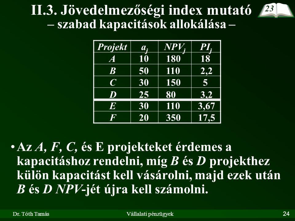 Dr. Tóth TamásVállalati pénzügyek24 II.3. Jövedelmezőségi index mutató – szabad kapacitások allokálása – Az A, F, C, és E projekteket érdemes a kapaci