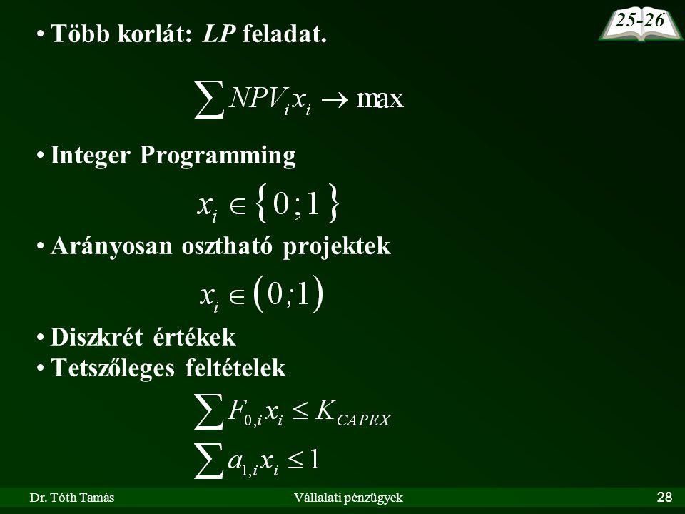 Dr. Tóth TamásVállalati pénzügyek28 Több korlát: LP feladat. Integer Programming Arányosan osztható projektek Diszkrét értékek Tetszőleges feltételek