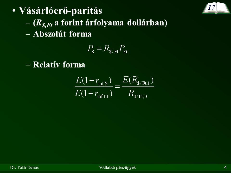Dr. Tóth TamásVállalati pénzügyek4 Vásárlóerő-paritás –(R $,Ft a forint árfolyama dollárban) –Abszolút forma –Relatív forma 17