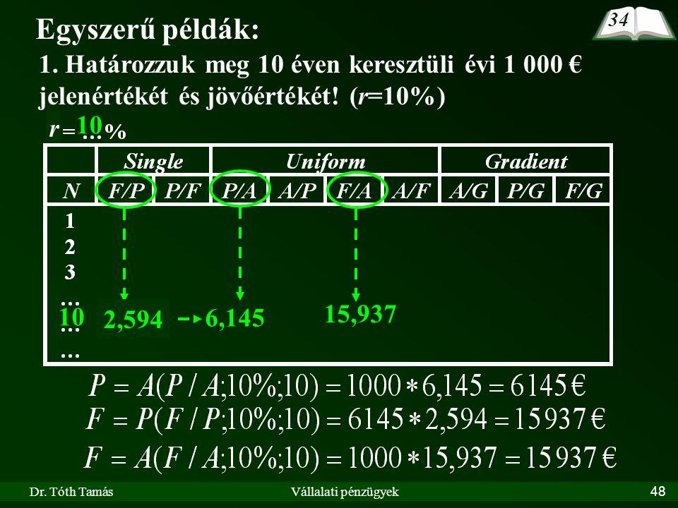 Dr. Tóth TamásVállalati pénzügyek48 r Egyszerű példák: 1. Határozzuk meg 10 éven keresztüli évi 1 000 € jelenértékét és jövőértékét! (r=10%) 10 6,145