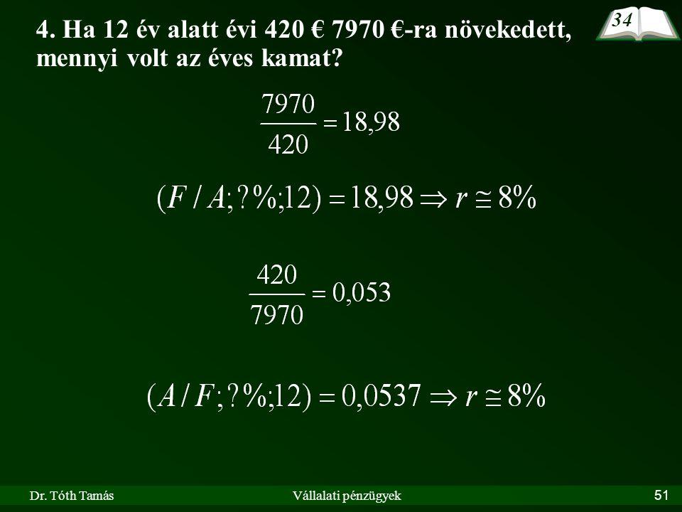 Dr. Tóth TamásVállalati pénzügyek51 4. Ha 12 év alatt évi 420 € 7970 €-ra növekedett, mennyi volt az éves kamat? 34