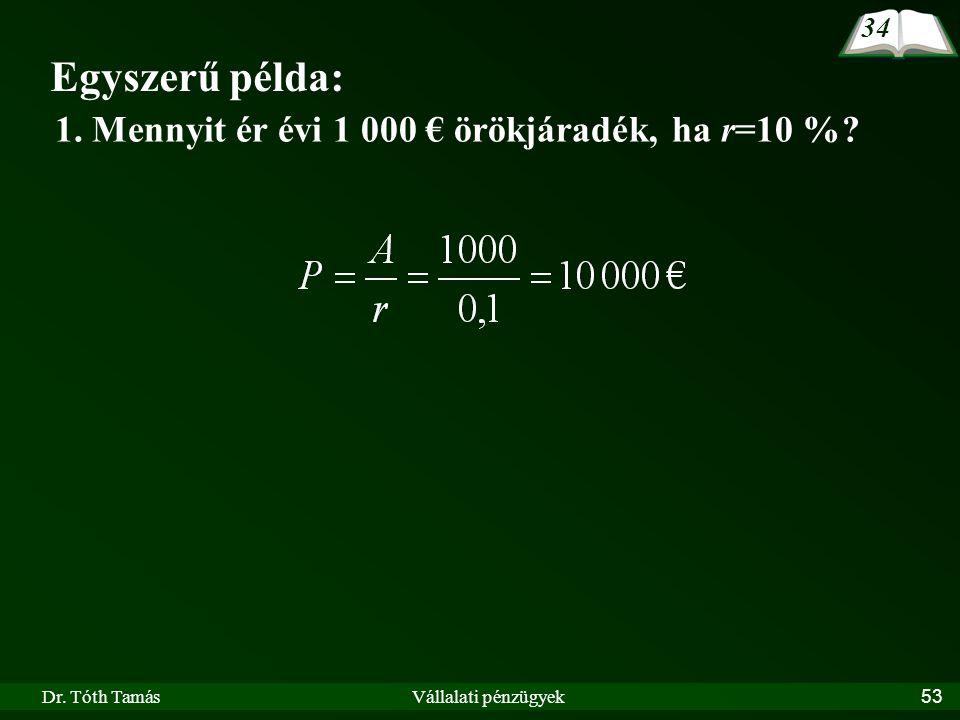 Dr. Tóth TamásVállalati pénzügyek53 Egyszerű példa: 1. Mennyit ér évi 1 000 € örökjáradék, ha r=10 %? 34