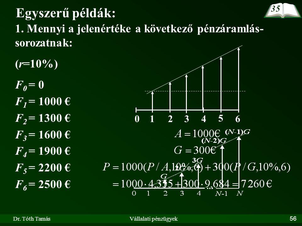 Dr. Tóth TamásVállalati pénzügyek56 Egyszerű példák: 1. Mennyi a jelenértéke a következő pénzáramlás- sorozatnak: (r=10%) F 0 = 0 F 1 = 1000 € F 2 = 1