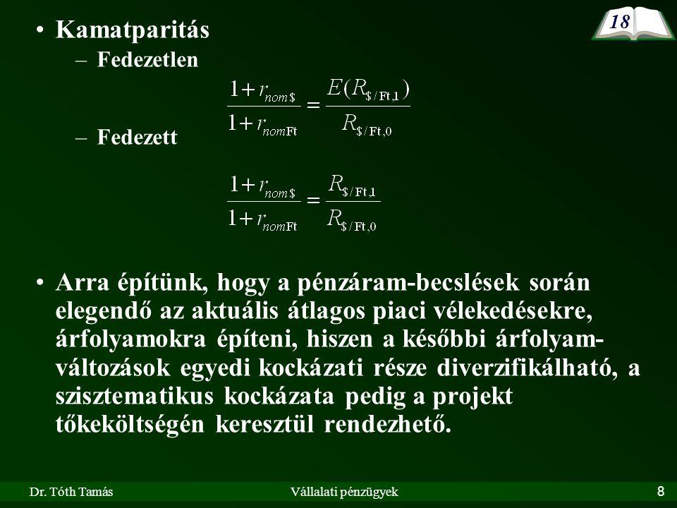 Dr. Tóth TamásVállalati pénzügyek39 II.6. A jelenérték-számítás technikai alapjai 31