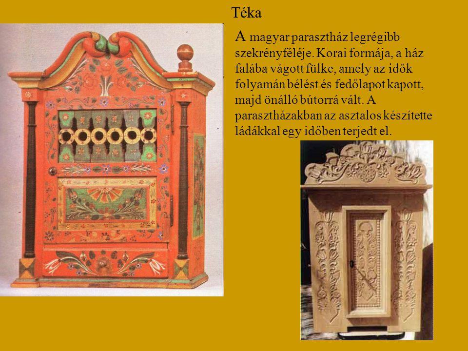 Téka A magyar parasztház legrégibb szekrényféléje. Korai formája, a ház falába vágott fülke, amely az idők folyamán bélést és fedőlapot kapott, majd ö