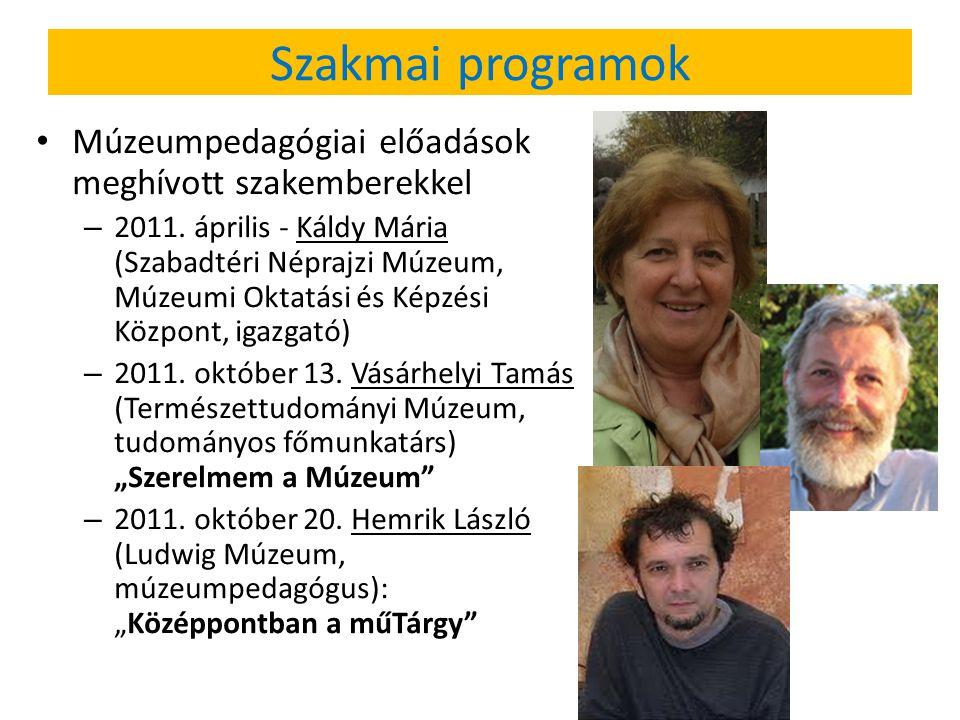 Szakmai programok Múzeumpedagógiai előadások meghívott szakemberekkel – 2011. április - Káldy Mária (Szabadtéri Néprajzi Múzeum, Múzeumi Oktatási és K