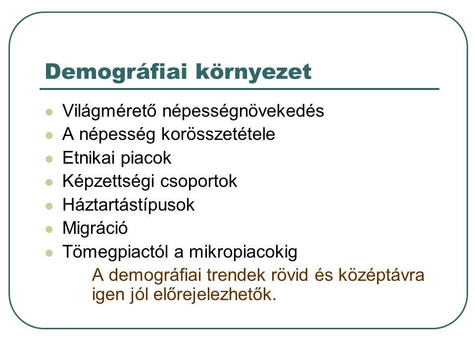 Demográfiai környezet Világmérető népességnövekedés A népesség korösszetétele Etnikai piacok Képzettségi csoportok Háztartástípusok Migráció Tömegpiac