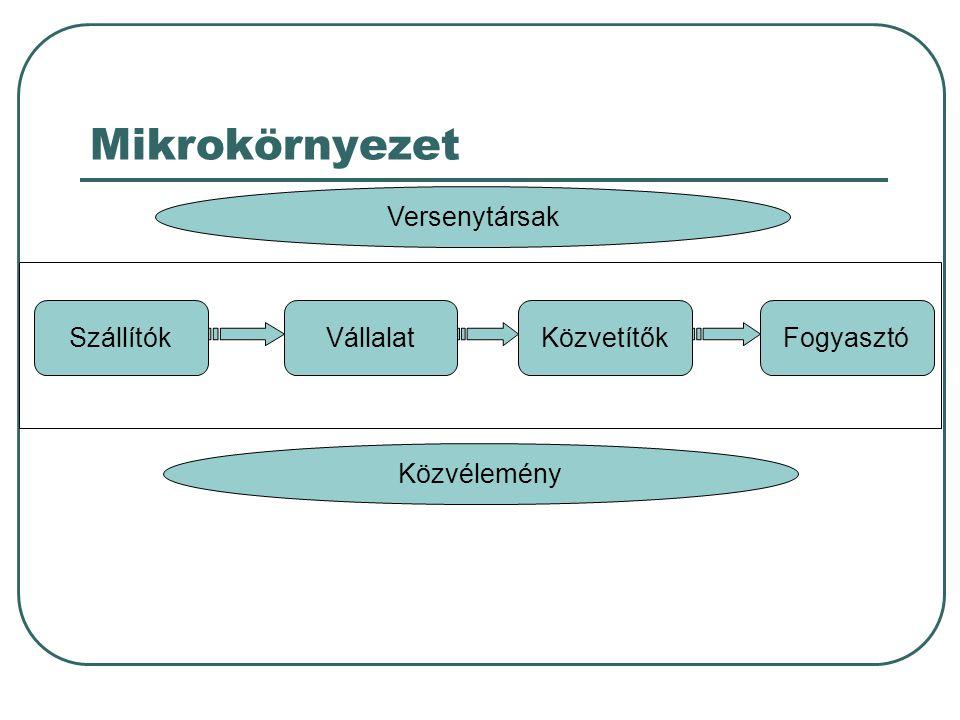 Mikrokörnyezet A vállalat A vállalat belső környezete Vezetés Pénzügy K+F Beszerzés Termelés Könyvelés