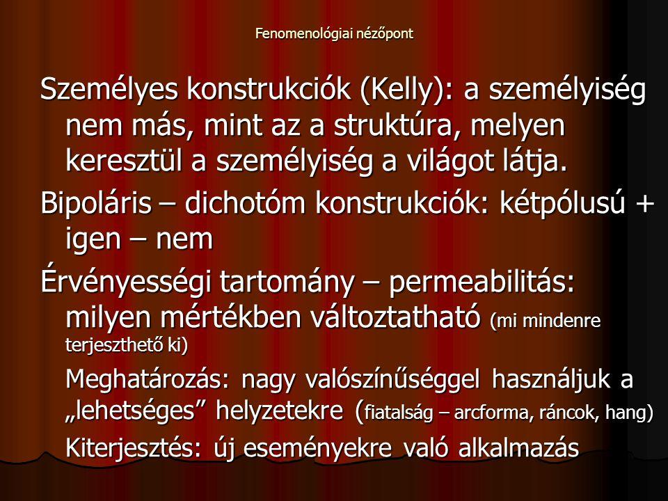 Fenomenológiai nézőpont Személyes konstrukciók (Kelly): a személyiség nem más, mint az a struktúra, melyen keresztül a személyiség a világot látja. Bi