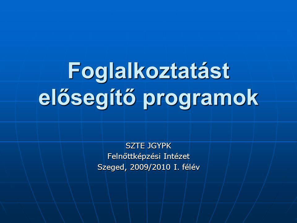 Foglalkoztatást elősegítő programok SZTE JGYPK Felnőttképzési Intézet Szeged, 2009/2010 I. félév