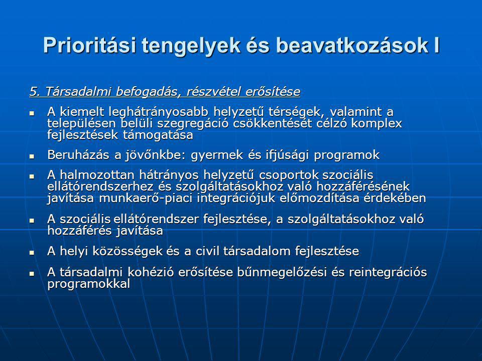 Prioritási tengelyek és beavatkozások I 5.