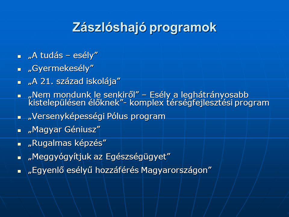 """Zászlóshajó programok """"A tudás – esély """"A tudás – esély """"Gyermekesély """"Gyermekesély """"A 21."""