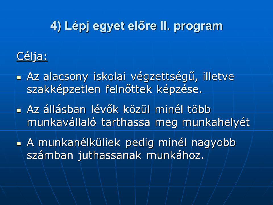 4) Lépj egyet előre II. program Célja: Az alacsony iskolai végzettségű, illetve szakképzetlen felnőttek képzése. Az alacsony iskolai végzettségű, ille